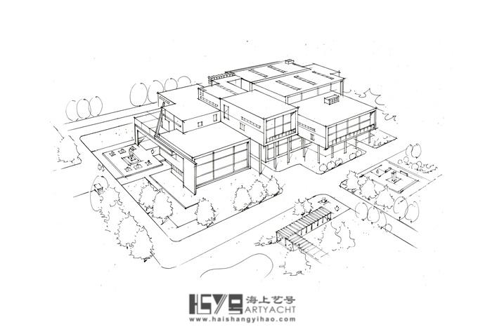 建筑手绘表现技法之鸟瞰图图片