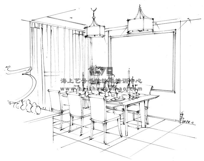 室内设计手绘墨线图