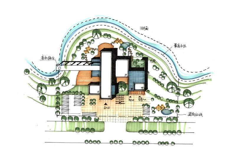 建筑总平面图 熟练运用 线条及马克笔  完成小型建筑总平面图