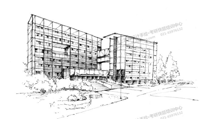 建筑徒手线稿表达(人视图,鸟瞰图)_海上艺号设计手绘