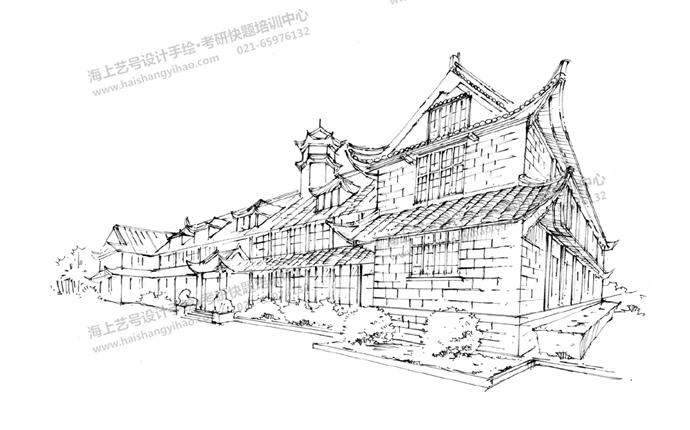 建筑徒手线稿表达(人视图,鸟瞰图)