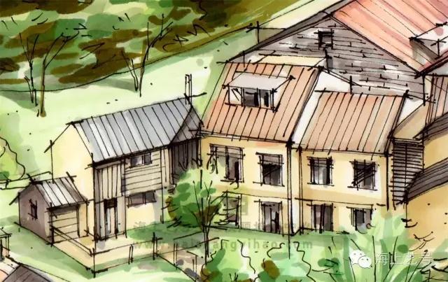 房屋上由树木形成的斑驳阴影,这种投影在用马克笔表达时尽量从较浅的