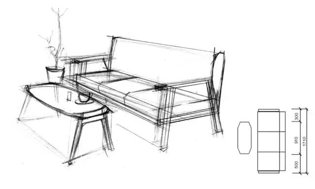 手绘马克笔木质桌椅 效果图