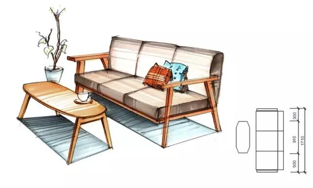 木质桌子马克笔手绘图片